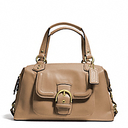 CAMPBELL LEATHER SATCHEL - f24690 - BRASS/CAMEL