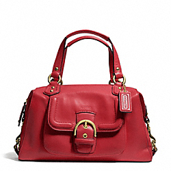 COACH CAMPBELL LEATHER SATCHEL - BRASS/CORAL RED - F24690