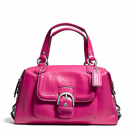 COACH f24690 CAMPBELL LEATHER SATCHEL SILVER/FUCHSIA