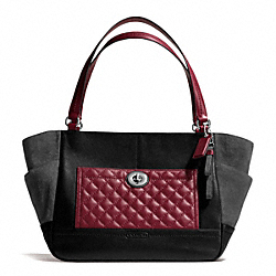 COACH PARK QUILTED COLORBLOCK CARRIE - SILVER/BLACK MULTI - F24693