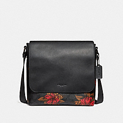 CHARLES MESSENGER IN SIGNATURE CANVAS WITH HAWAIIAN LILY PRINT - QBNI6 - COACH F24717
