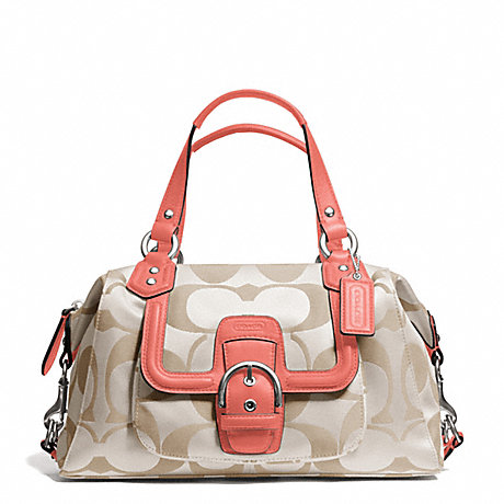 COACH f24741 CAMPBELL SIGNATURE SATCHEL SILVER/LIGHT KHAKI/CORAL