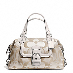 COACH CAMPBELL SIGNATURE SATCHEL - SILVER/LIGHT KHAKI/IVORY - F24741