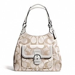COACH CAMPBELL SIGNATURE HOBO - SILVER/LIGHT KHAKI/IVORY - F24742
