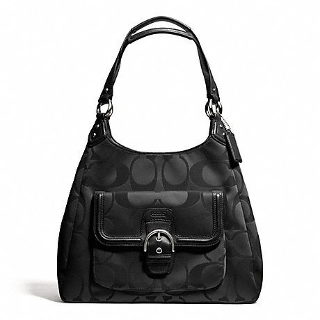 COACH f24742 CAMPBELL SIGNATURE HOBO SILVER/BLACK