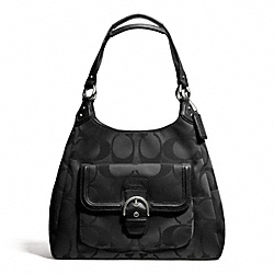 COACH CAMPBELL SIGNATURE HOBO - SILVER/BLACK - F24742