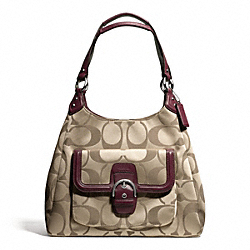 COACH CAMPBELL SIGNATURE HOBO - SILVER/KHAKI/BURGUNDY - F24742