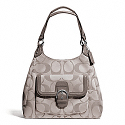 COACH CAMPBELL SIGNATURE HOBO - SILVER/TEA - F24742