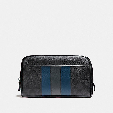 COACH OVERNIGHT TRAVEL KIT WITH VARSITY STRIPE - BLACK/DENIM/GRAPHITE - f24768