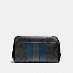 COACH OVERNIGHT TRAVEL KIT WITH VARSITY STRIPE - BLACK/DENIM/GRAPHITE - F24768