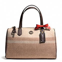 COACH SIGNATURE STRIPE WOOL STRIPE SATCHEL - BRASS/CAMEL/MAHOGANY - F24784