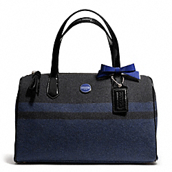COACH SIGNATURE STRIPE WOOL STRIPE SATCHEL - SILVER/CHARCOAL/COBALT - F24784