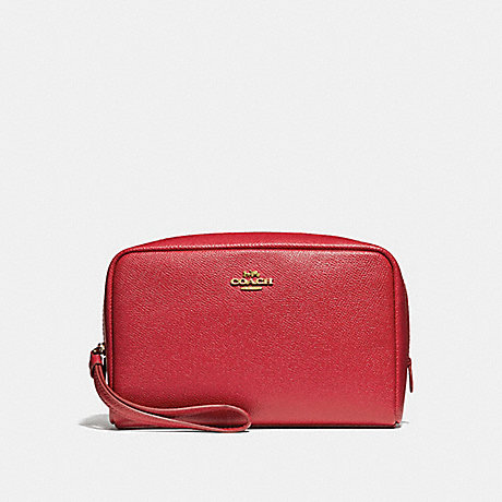 COACH BOXY COSMETIC CASE 20 - TRUE RED/IMITATION GOLD - f24797