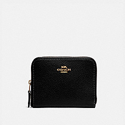 COACH SMALL ZIP AROUND WALLET - BLACK/IMITATION GOLD - F24808