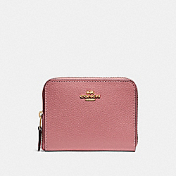 SMALL ZIP AROUND WALLET - VINTAGE PINK/IMITATION GOLD - COACH F24808