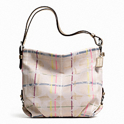 COACH 24CM SIGNATURE TATTERSALL DUFFLE - ONE COLOR - F24822