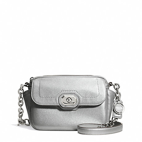 COACH f24843 CAMPBELL TURNLOCK LEATHER CAMERA BAG SILVER/PLATINUM