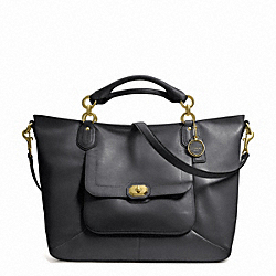COACH CAMPBELL TURNLOCK LEATHER IZZY FASHION SATCHEL - BRASS/BLACK - F24845