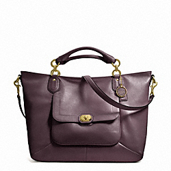 COACH CAMPBELL TURNLOCK LEATHER IZZY FASHION SATCHEL - BRASS/PLUM - F24845