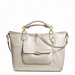 COACH CAMPBELL TURNLOCK LEATHER IZZY FASHION SATCHEL - BRASS/PEARL - F24845
