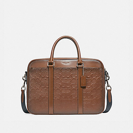 COACH PERRY SLIM BRIEF IN SIGNATURE LEATHER - NICKEL/SADDLE - f24860