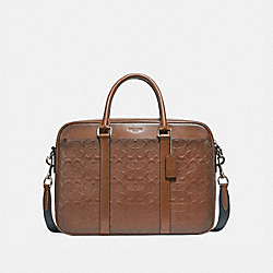 PERRY SLIM BRIEF IN SIGNATURE LEATHER - SADDLE/NICKEL - COACH F24860