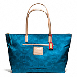 COACH WEEKEND SIGNATURE NYLON EAST/WEST ZIP TOP TOTE - ONE COLOR - F24862