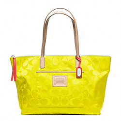 COACH LEGACY WEEKEND SIGNATURE NYLON EAST/WEST ZIP TOP TOTE - SILVER/NEON YELLOW - F24862