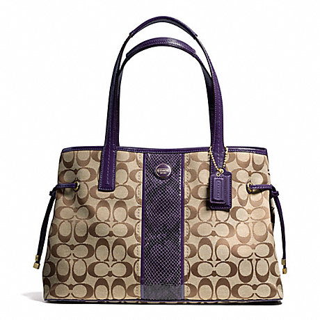 COACH f24882 SIGNATURE STRIPE PYTHON STRIPE CARRYALL BRASS/KHAKI/PURPLE