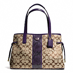 COACH SIGNATURE STRIPE PYTHON STRIPE CARRYALL - BRASS/KHAKI/PURPLE - F24882