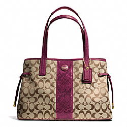 COACH SIGNATURE STRIPE PYTHON STRIPE CARRYALL - ONE COLOR - F24882