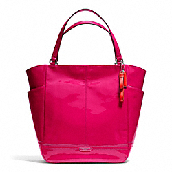 COACH PARK PATENT NORTH/SOUTH TOTE - SILVER/RASPBERRY - F24893
