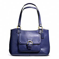 COACH CAMPBELL LEATHER BELLE CARRYALL - BRASS/MARINE NAVY - F24961