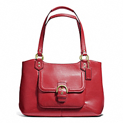 CAMPBELL LEATHER BELLE CARRYALL - BRASS/CORAL RED - COACH F24961