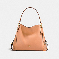 COACH EDIE SHOULDER BAG 31 WITH PATCHWORK TEA ROSE AND SNAKESKIN DETAIL - APRICOT/LIGHT GOLD - F24966