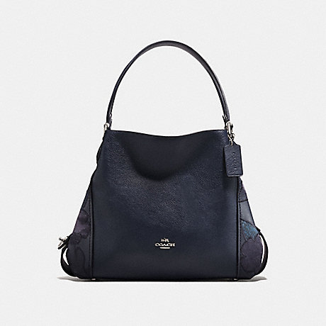 COACH EDIE SHOULDER BAG 31 WITH PATCHWORK TEA ROSE AND SNAKESKIN DETAIL - SILVER/NAVY - f24966