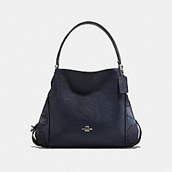 EDIE SHOULDER BAG 31 WITH PATCHWORK TEA ROSE AND SNAKESKIN DETAIL - SILVER/NAVY - COACH F24966
