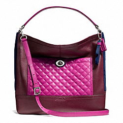COACH PARK QUILTED COLORBLOCK HOBO - SILVER/BURGUNDY MULTI - F24981