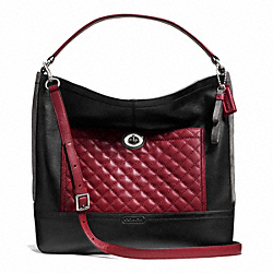 COACH PARK QUILTED COLORBLOCK HOBO - SILVER/BLACK MULTI - F24981