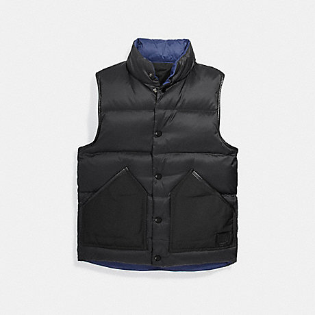 COACH REVERSIBLE DOWN VEST - BLACK - f25003