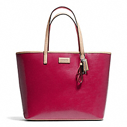 PARK METRO PATENT TOTE - f25028 - SILVER/RED