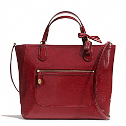 COACH POPPY TEXTURED PATENT LEATHER SMALL BLAIRE TOTE - BRASS/SHERRY - F25042