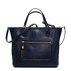 COACH POPPY TEXTURED PATENT SMALL BLAIRE TOTE - BRASS/NAVY - F25042