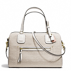 COACH POPPY MINI EAST/WEST SATCHEL IN SIGNATURE OXFORD FABRIC - BRASS/IVORY MOHAIR - F25047