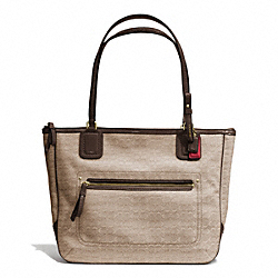 COACH POPPY MINI SMALL TOTE IN SIGNATURE OXFORD FABRIC - BRASS/KHAKI/MAHOGANY - F25051