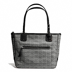 COACH POPPY SIGNATURE C MINI OXFORD SMALL TOTE - SILVER/BLACK/WHITE/BLACK - F25051