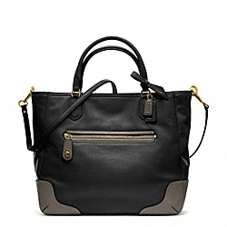 COACH POPPY COLORBLOCK LEATHER SMALL BLAIRE TOTE - BRASS/BLACK - F25057