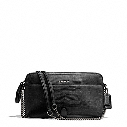 COACH POPPY FLIGHT BAG CROSSBODY IN PYTHON EMBOSSED LEATHER - GUNMETAL/GUNMETAL - F25061