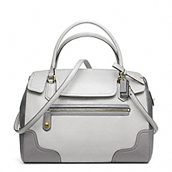 COACH POPPY COLORBLOCK LEATHER FLAP SATCHEL - LI/LIGHT GREY - F25073