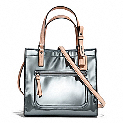 COACH POPPY MIRROR METALLIC MINI BOX TOTE - PEWTER/PEWTER - F25076